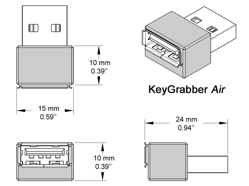 KeyGrabber Air USB hardware keylogger real dimensions.