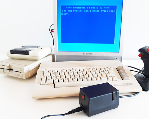 C64C system running new C64 PSU