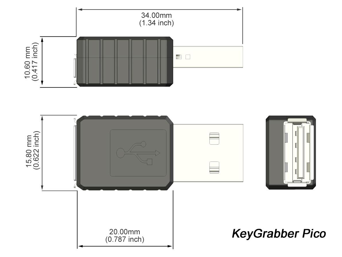 KeyGrabber Pico USB hardware keylogger: dimensions.