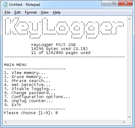 PS/2 hardware keylogger text menu mode.